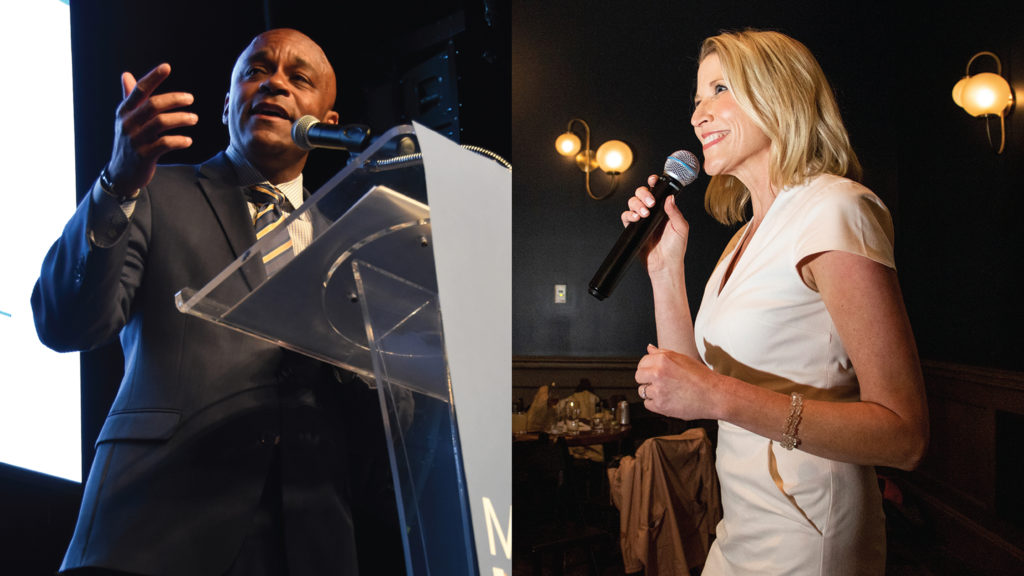 Mayor Michael Hancock and Jamie Giellis. (Kevin J. Beaty/Denverite and Corey Jones/CPR News)