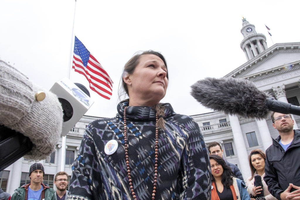 Cindy Sovine speaks to a reporter at a pro-Initiative 301 press conference, May 9, 2019. (Kevin J. Beaty/Denverite)