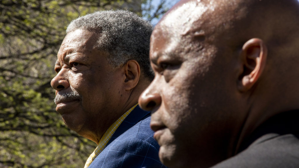 Former Mayor Wellington Webb attends a rally for Mayor Michael Hancock's reelection campaign, May 14, 2019. (Kevin J. Beaty/Denverite)