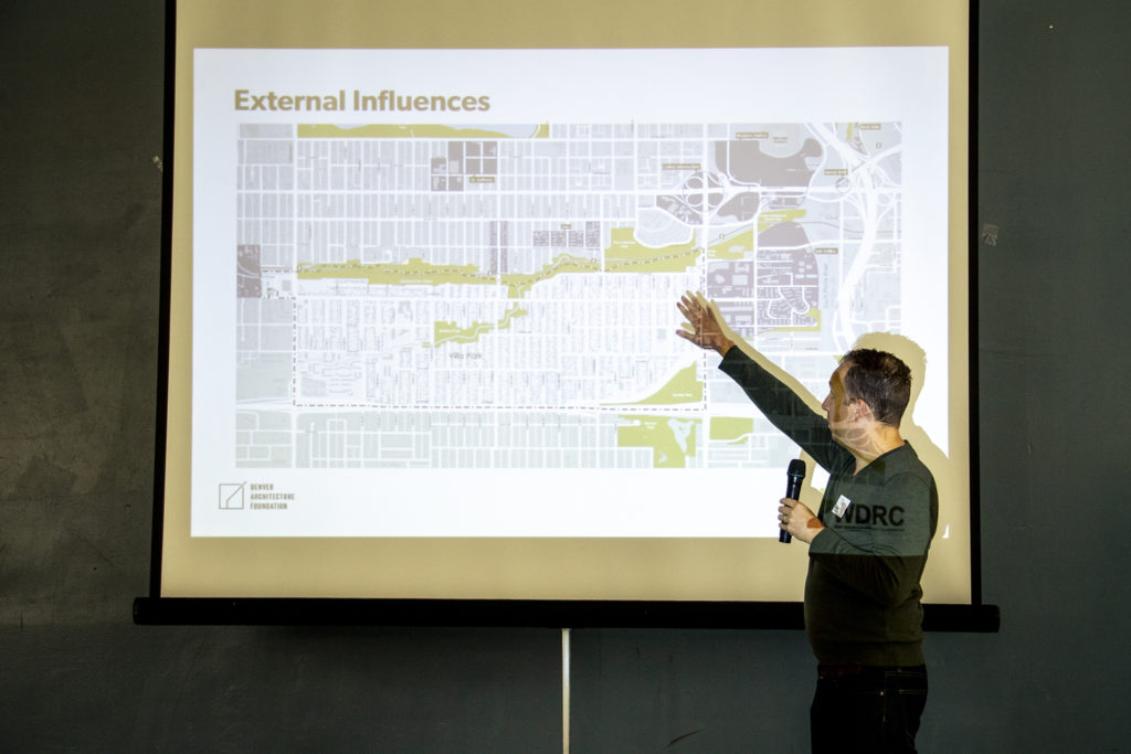 Architect and Denver Architecture Foundation board member Jesse Bank leads a discussion during a Foundation meeting with Villa Park neighbors, May 18, 2019. (Kevin J. Beaty/Denverite)