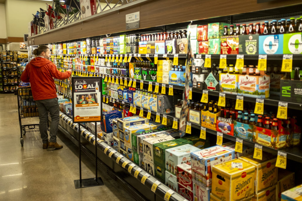 Beer for sale inside a North Capitol Hill Grocery Store, May 21, 2019. (Kevin J. Beaty/Denverite)