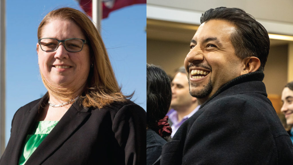 Denver Clerk and Recorder candidates Peg Perl and Paul López. (Kevin J. Beaty/Denverite)