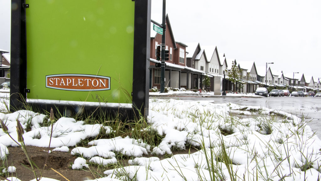 Stapleton on a snowy spring day, May 21, 2019. (Kevin J. Beaty/Denverite)