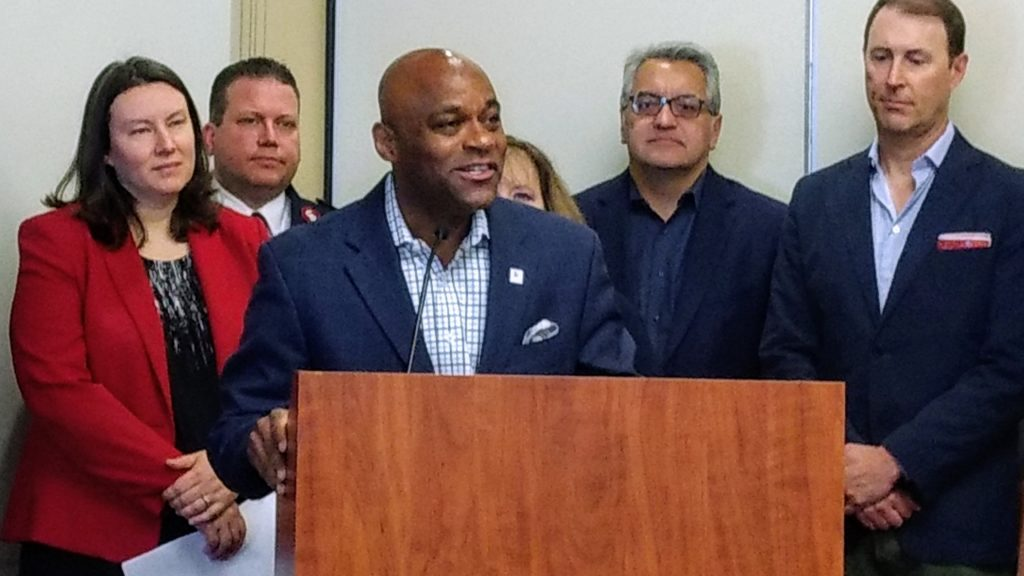 Mayor Michael Hancock at a news conference Friday, May 24, 2019 announcing new contributions to a housing fund. (Donna Bryson/Denverite)