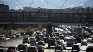 I-25 with a lot of traffic. (Kevin J. Beaty/Denverite)