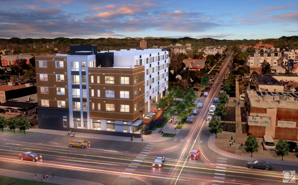 This rendering shows what the modular multi-family housing projects at 1775 Federal will look like upon completion. (courtesy OZ Architecture )