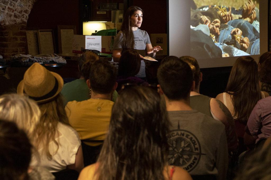 Sarah Jackson leads a packed training of first-time volunteers for Casa De Paz. Highlands Church North Denver, June 8, 2019. (Kevin J. Beaty/Denverite)