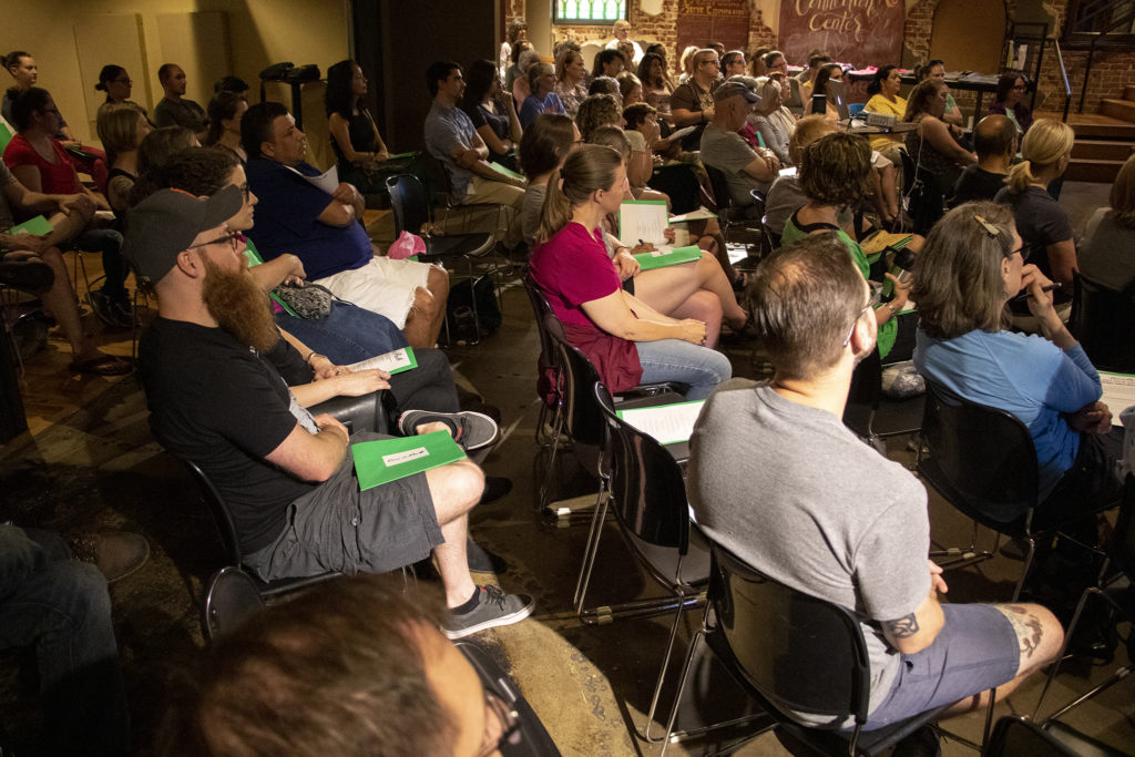 Highlands Church North Denver is packed during a training of first-time volunteers for Casa De Paz, June 8, 2019. (Kevin J. Beaty/Denverite)