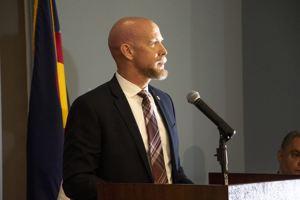 ATF Special Agent in Charge David Booth speaks during a press conference announcing the RAVEN law enforcement program, June 12, 2019. (Kevin J. Beaty/Denverite)