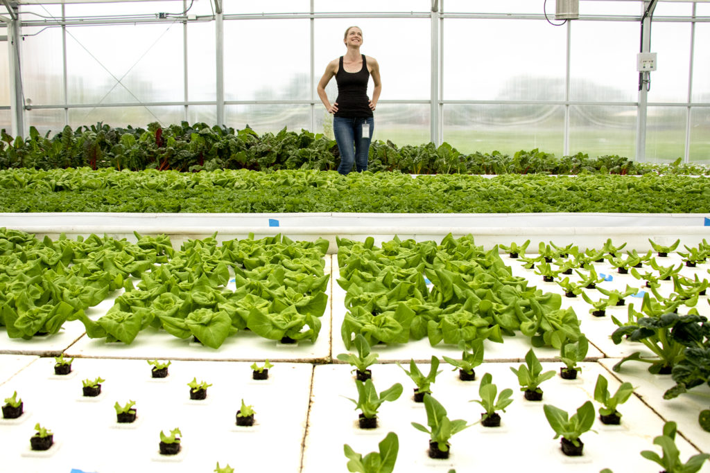 Jenna Smith, aquaponic farm manager, poses for a portrait inside her greenhouse at the Dahlia Campus for Health and Well-Being, June 18, 2019. (Kevin J. Beaty/Denverite)