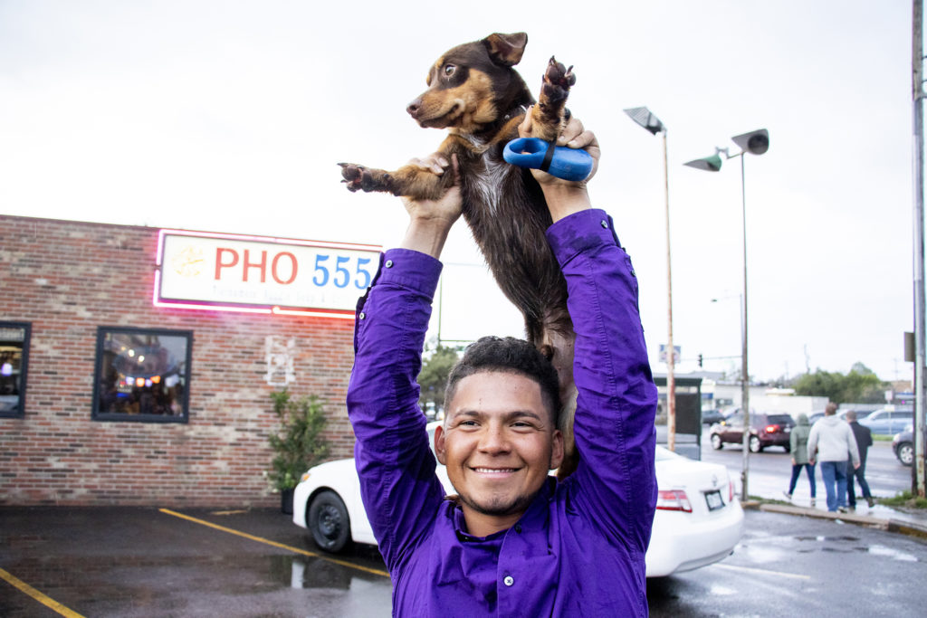 Canelo's human William Hernandez holds him up to view a pho eating context during the Little Saigon Night Market. Federal Boulevard, June 21, 2019. (Kevin J. Beaty/Denverite)