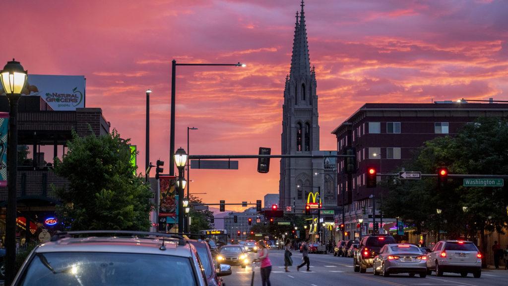 A Colorado sunset over East Colfax Avenue, June 28, 2019. (Kevin J. Beaty/Denverite)