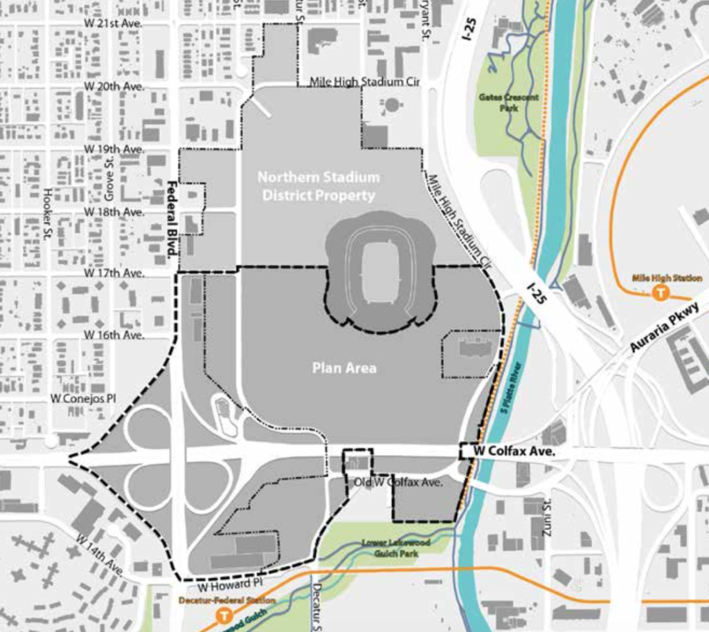 The area covered by the Stadium District Master Plan. (Courtesy, Denver Community Planning and Development)