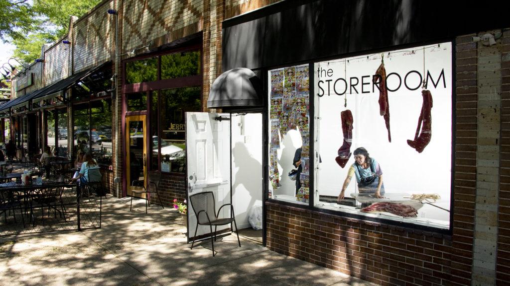 Kalindi DeFrancis works on her installation at The Storeroom in City Park West, July 9, 2019. (Kevin J. Beaty/Denverite)
