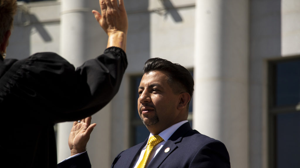 Paul Lopez is sworn in as Denver Clerk and Recorder on the City and County Building steps, July 15, 2019. (Kevin J. Beaty/Denverite)