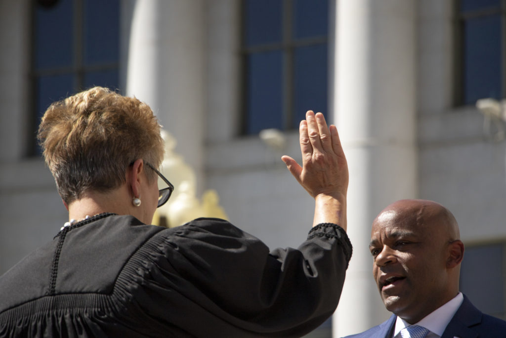 Mayor Michael Hancock is sworn in during his inauguration day ceremony on the City and County Building steps, July 15, 2019. (Kevin J. Beaty/Denverite)