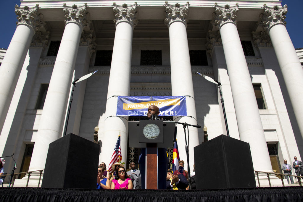 Mayor Michael Hancock speaks on inauguration day on the City and County Building steps, July 15, 2019. (Kevin J. Beaty/Denverite)