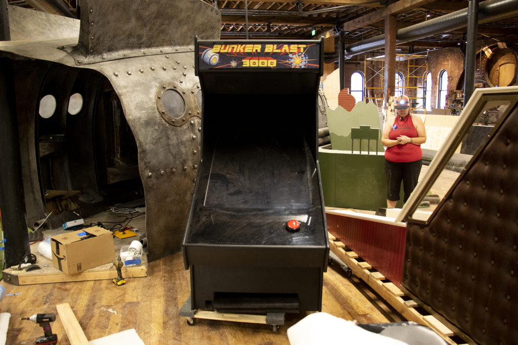 An arcade game-themed hole that putters will send balls into at Urban Putt's new location at the old Old Spaghetti Factory building downtown, July 16, 2019. (Kevin J. Beaty/Denverite)