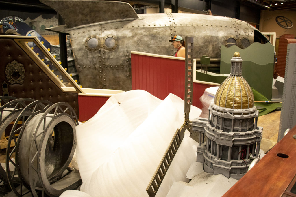A replica of the state Capitol offers a classic windmill obstacle at Urban Putt's new location at the old Old Spaghetti Factory building downtown, July 16, 2019. (Kevin J. Beaty/Denverite)