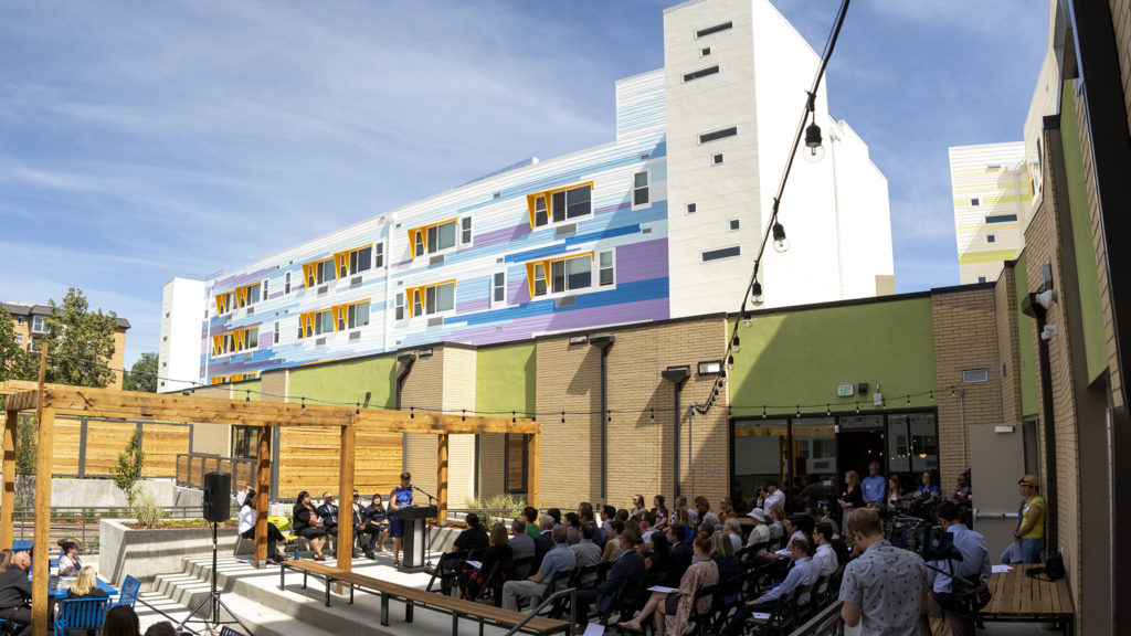 City Councilwoman Robin Kniech speaks during a ribbon-cutting ceremony for the Arroyo Village apartments in Denver's West Colfax neighborhood, July 18, 2019. (Kevin J. Beaty/Denverite)