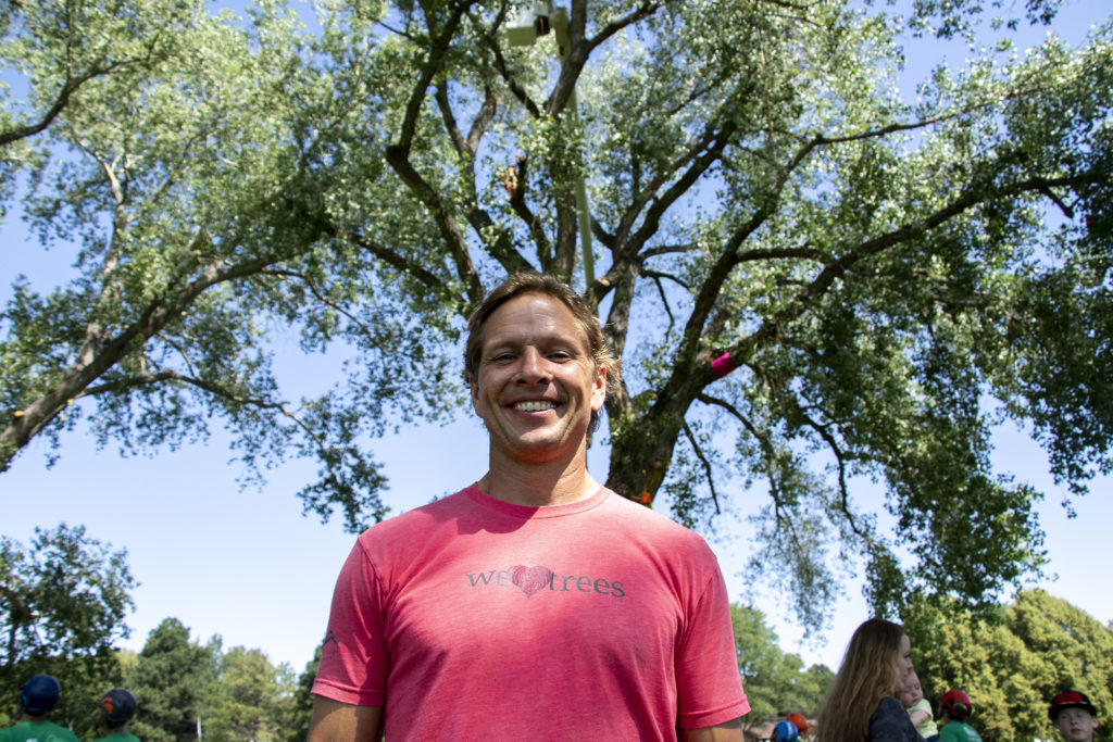 Arborist Josh Morin poses for a portrait. The International Society of Arboriculture's rocky mountain chapter holds their annual regional tree-climbing competition at Crestmoor Park in Hilltop, July 20, 2019. (Kevin J. Beaty/Denverite)