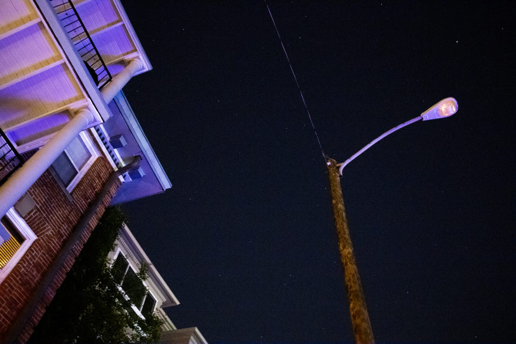 A street light is out in Capitol Hill, June 27, 2019. (Kevin J. Beaty/Denverite)