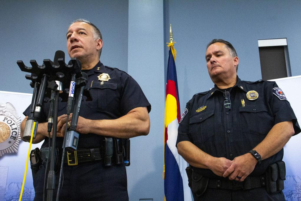 Denver Police Division Chief of Investigations Joe Montoya (left) and RTD Police Chief Bob Grado during a press conference on Tuesday, July 2, 2019, at the Denver Police Crime Lab. (Esteban L. Hernandez/Denverite)