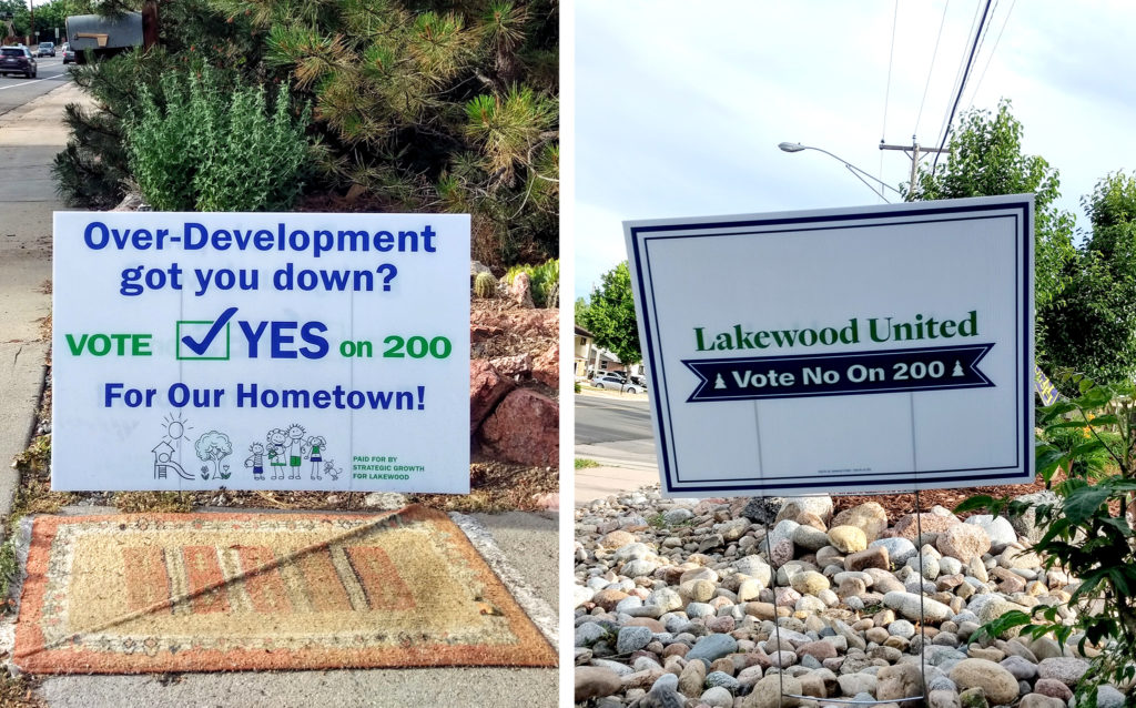 Dueling campaign signs for Jefferson County's Initiative 200. (Donna Bryson/Denverite)