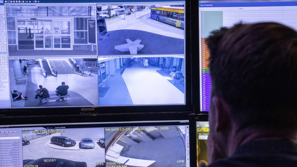 Thousands of camera feeds are monitored inside RTD's security command center, July 3, 2019. (Kevin J. Beaty/Denverite)