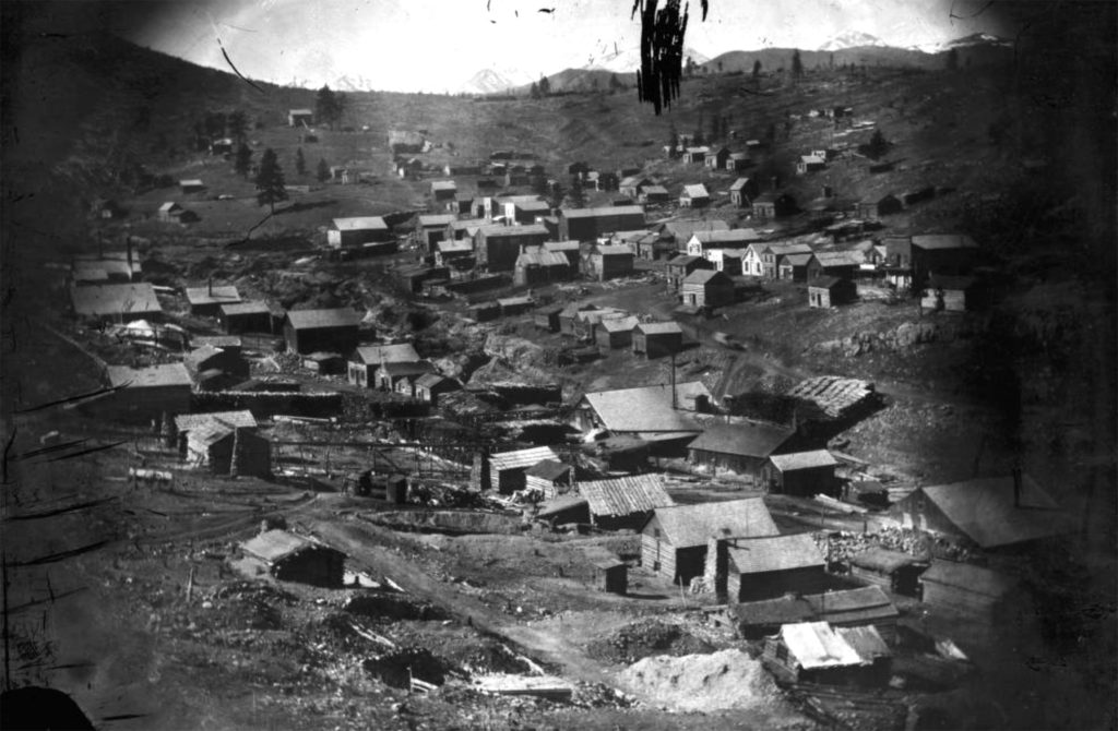 View northwest over Nevadaville, Gilpin County, Colorado, circa 1860. Photographer is thought to be Rufus E. Cable. (Denver Public Library/Western History Collection/X-11275)