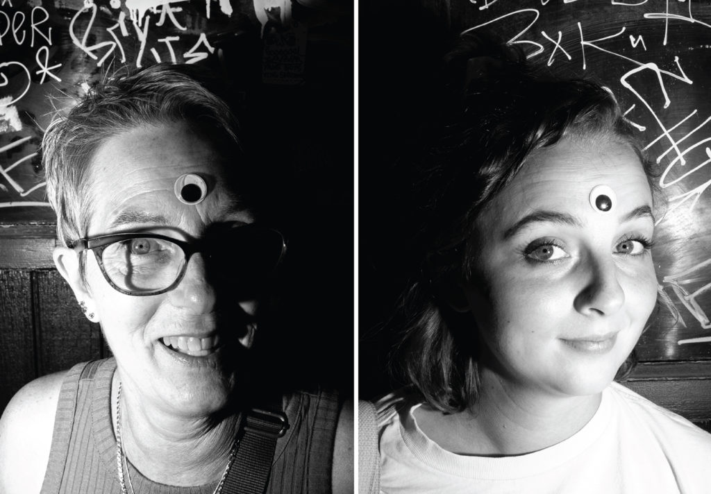 Kate Redford and her daughter, Lilly, wear third, googly, eyes. The Underground Music Showcase, July 28, 2019. (Kevin J. Beaty/Denverite)