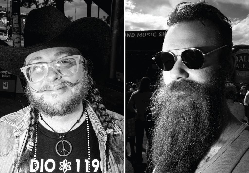 Beard wizards Aaron Ukulele Loki Johnson and Joe Mills. The Underground Music Showcase, July 28, 2019. (Kevin J. Beaty/Denverite)