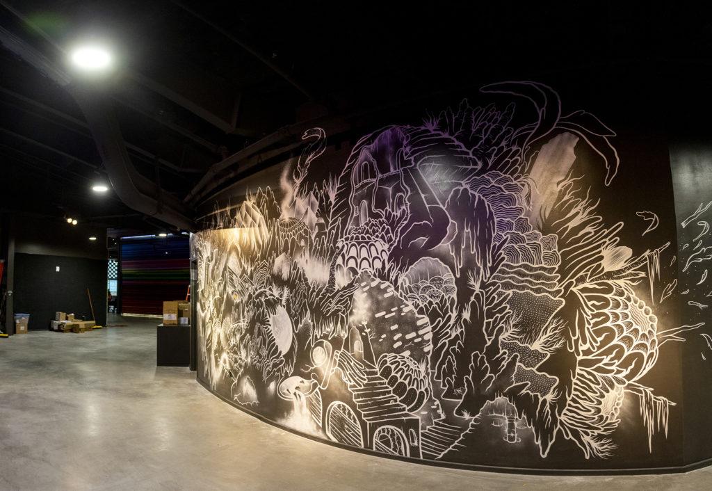A mural inside Mission Ballroom. Elyria Swansea, RiNo, July 30, 2019. (Kevin J. Beaty/Denverite)