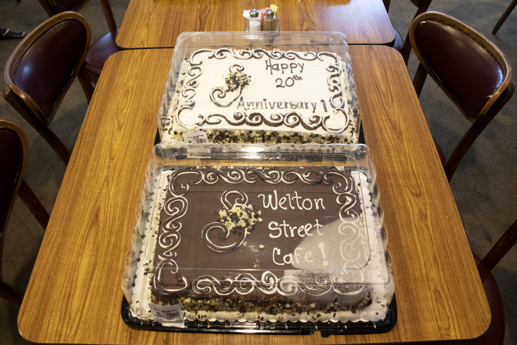 Cakes celebrating Welton Street Cafe's 20 years in one location. Five Points, July 30, 2019. (Kevin J. Beaty/Denverite)