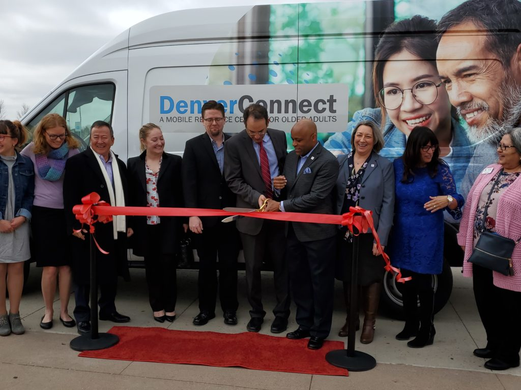 Colorado Attorney General Phil Weiser and Denver Mayor Michael B. Hancock (center) during a ribbon cutting launching Denver Connect on April 12, 2019, in Denver. Photo courtesy of the Attorney General's office.