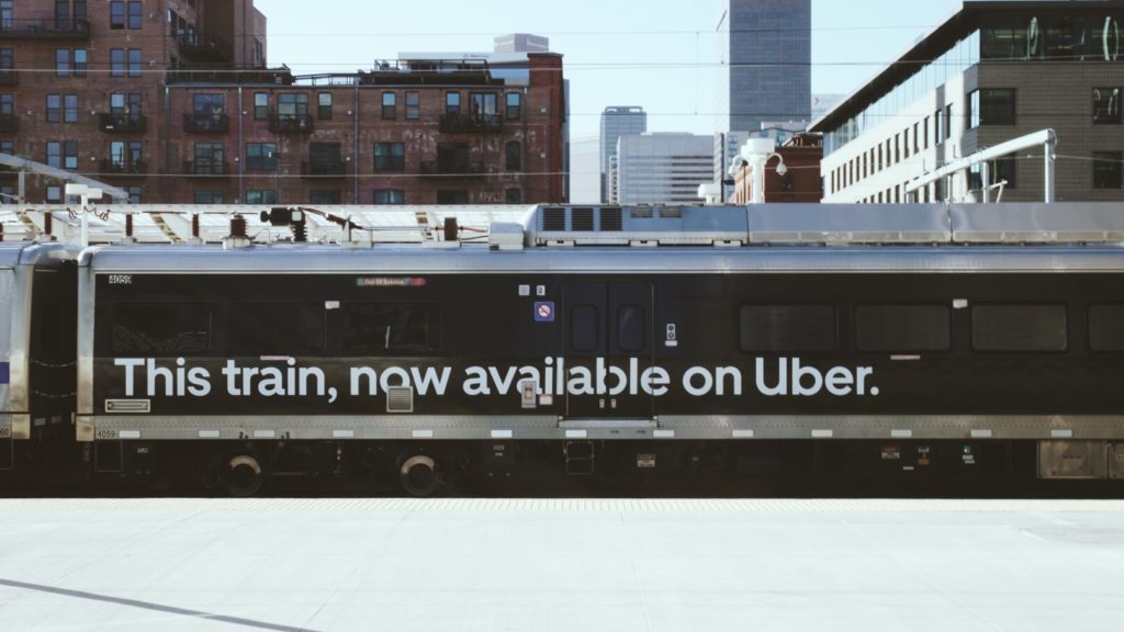 An RTD train with an Uber logo. Photo Courtesy of Uber.