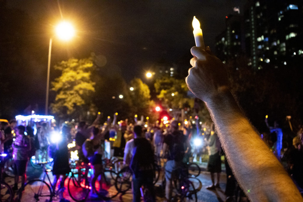 A vigil for Alexis Bounds after the Denver Cruisers arrived. July 31, 2019. (Kevin J. Beaty/Denverite)