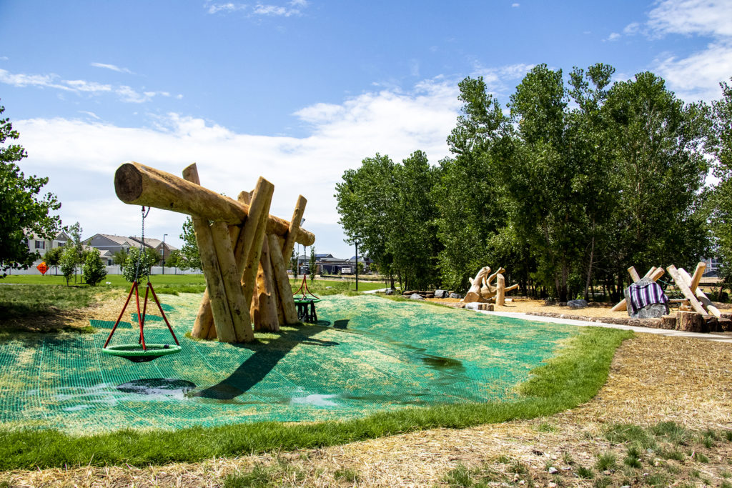 The First Creek Natural Playground in Denver's DIA neighborhood, Aug. 1, 2019. (Kevin J. Beaty/Denverite)