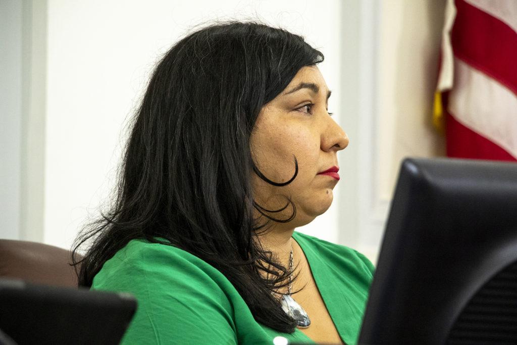 District 3 Councilwoman Jamie Torres at her desk. Aug. 5, 2019. (Kevin J. Beaty/Denverite)