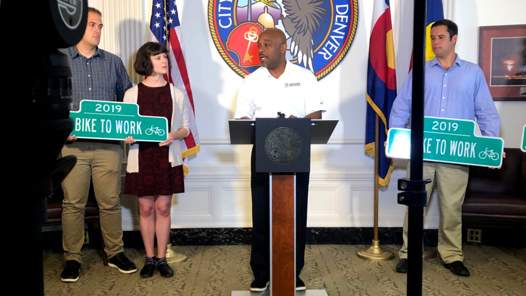 Mayor Michael Hancock speaks during a press conference in his office, Aug. 7, 2019, (David Sachs/Denverite)