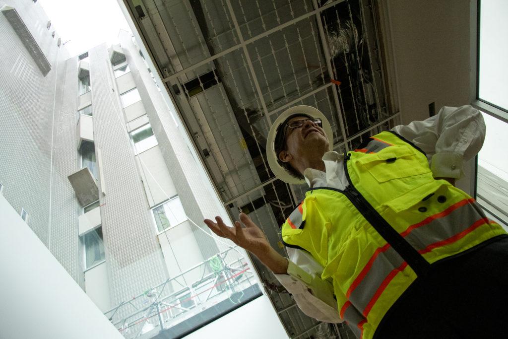 Christoph Heinrich, the Denver Art Museum's Frederick and Jan Mayer Director, gives a tour of the Denver Art Museum's new Martin Building during construction, Aug. 8, 2019. (Kevin J. Beaty/Denverite)