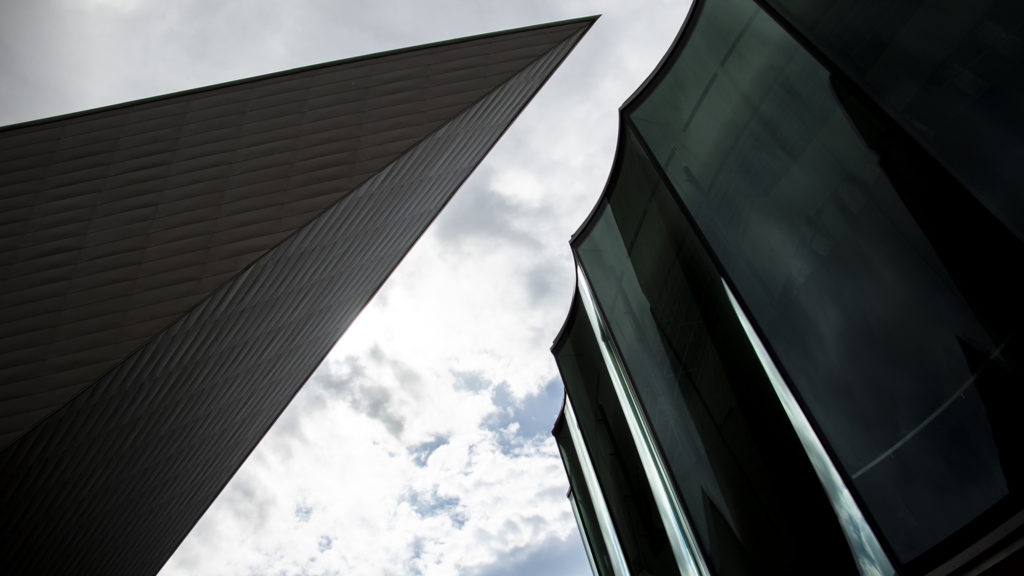Denver Art Museum's new campus (right) during construction, Aug. 8, 2019. (Kevin J. Beaty/Denverite)