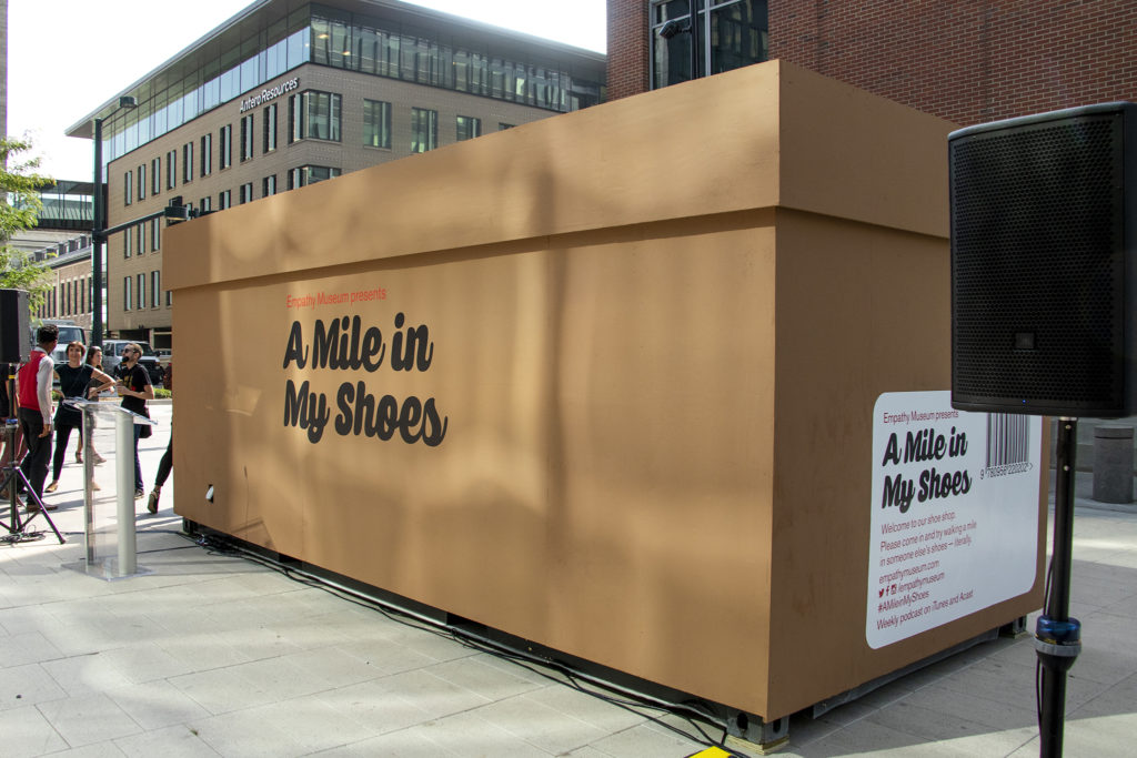 """The Empathy Museum's traveling """"A Mile in My Shoes"""" exhibit is ready to open downtown, an early installation of this year's Biennial of the Americas, Aug. 8, 2019. (Kevin J. Beaty/Denverite)"""