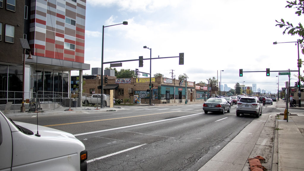 West Colfax Avenue at Perry Street, Aug. 16, 2019. (Kevin J. Beaty/Denverite)
