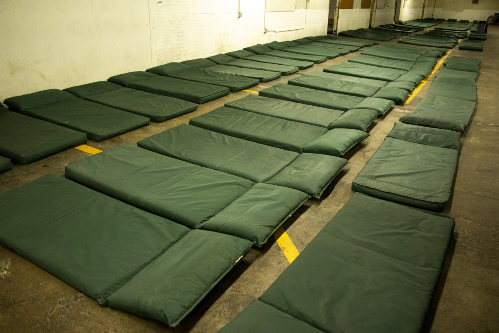Emergency beds inside the Salvation Army's Crossroads shelter for the unhoused, Aug. 23, 2019. (Kevin J. Beaty/Denverite)