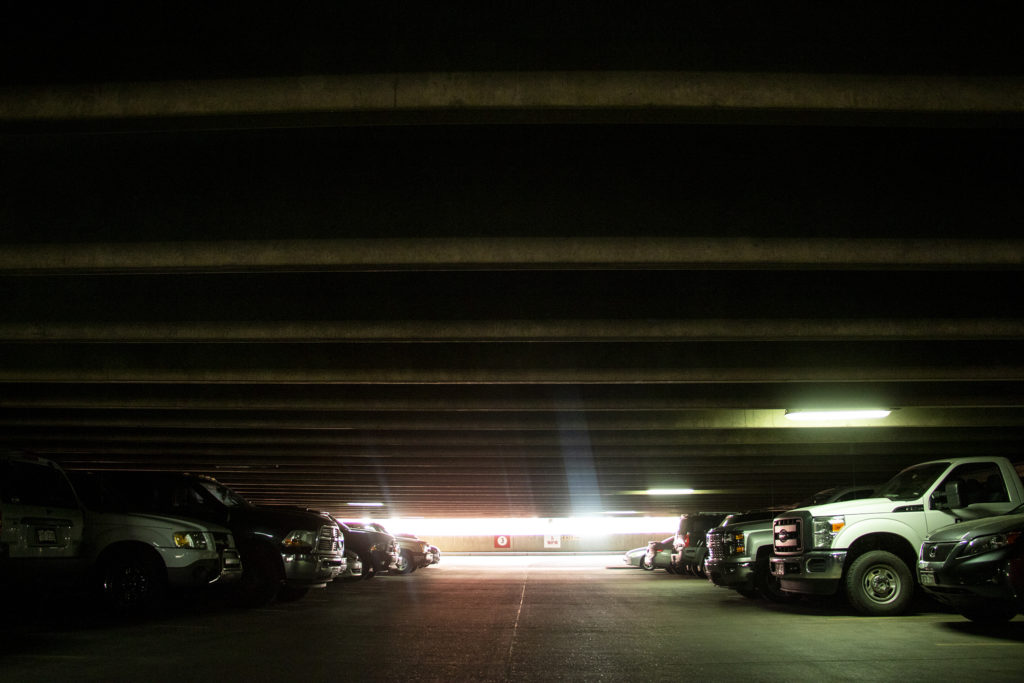 Denver's Arts Complex parking structure at 14th and Arapahoe Streets, Aug. 29, 2019. (Kevin J. Beaty/Denverite)