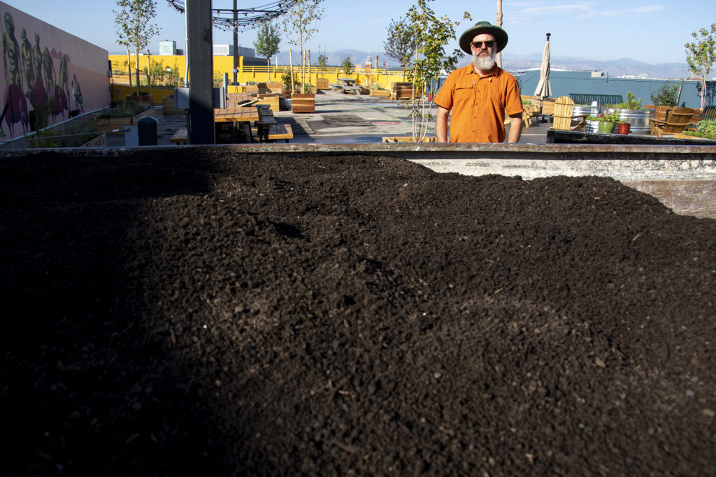 Ed Kennedy and a bunch of lightweight soil at Larimer Uprooted, the garden above Larimer Square. Aug. 17, 2019. (Keivn J. Beaty/Denverite)
