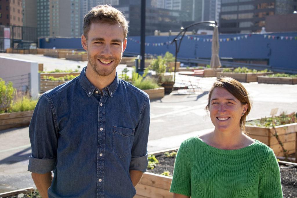 Jacob Ward and Lilly Hancock pose for a portrait at Larimer Uprooted, the garden above Larimer Square. Aug. 17, 2019. (Kevin J. Beaty/Denverite)