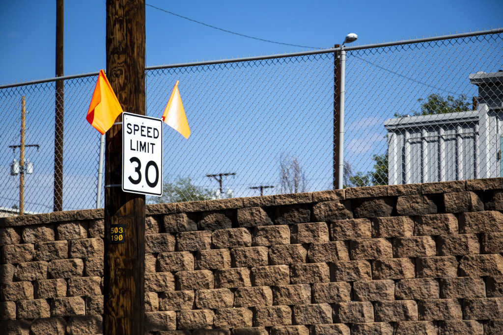 A new, slower, speed limit sign on Evans Avenue. Aug. 30, 2019. (Kevin J. Beaty/Denverite)