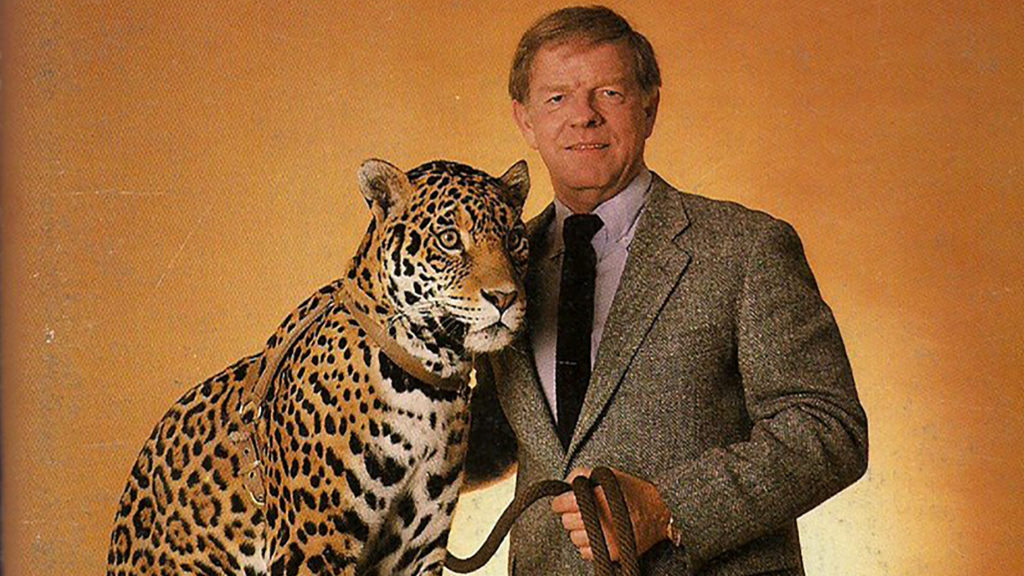 Late Denver Broncos and Denver Gold coach Red Miller poses with a leopard for some reason on a  1983 media guide for the popular but short-lived football team. (Courtesy, Fun While It Lasted)